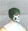 "Male Head: Balaclava DARK GREEN Mask with White ""JAW"" Deco - 1:18 Scale MTF Accessory for 3-3/4"" Action Figures"