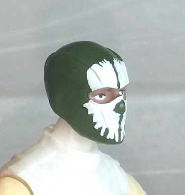 "Male Head: Balaclava DARK GREEN Mask with White ""SPLIT SKULL"" Deco - 1:18 Scale MTF Accessory for 3-3/4"" Action Figures"