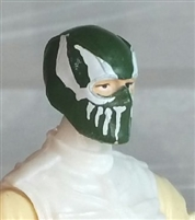"Male Head: Balaclava DARK GREEN Mask with White ""FANG"" Deco - 1:18 Scale MTF Accessory for 3-3/4"" Action Figures"