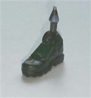 "Male Footwear: Right Dark Green Boot with Green Armor - 1:18 Scale MTF Accessory for 3-3/4"" Action Figures"