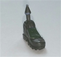 "Male Footwear: Left Dark Green Boot with Green Armor - 1:18 Scale MTF Accessory for 3-3/4"" Action Figures"