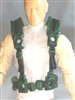 "Male Vest: Harness Rig DARK GREEN Version - 1:18 Scale Modular MTF Accessory for 3-3/4"" Action Figures"