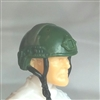 "Headgear: Half-Shell Helmet DARK GREEN Version - 1:18 Scale Modular MTF Accessory for 3-3/4"" Action Figures"