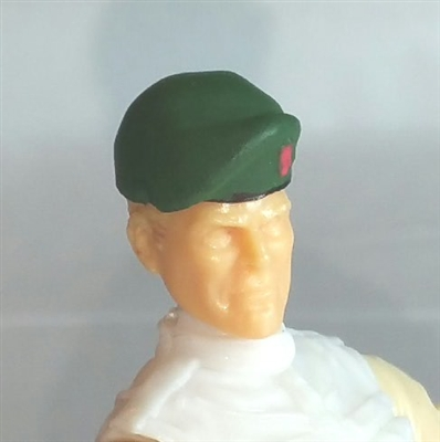 "Headgear: Beret DARK GREEN Version - 1:18 Scale Modular MTF Accessory for 3-3/4"" Action Figures"