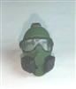 "Headgear: Gasmask DARK GREEN Version - 1:18 Scale Modular MTF Accessory for 3-3/4"" Action Figures"