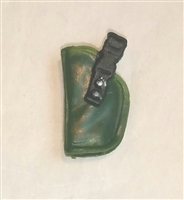 "Pistol Holster: Small Left Handed DARK GREEN Version - 1:18 Scale Modular MTF Accessory for 3-3/4"" Action Figures"