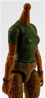 MTF Female Valkyries T-Shirt Torso ONLY (NO WAIST/LEGS): DARK GREEN & DARK GREEN Version with TAN Skin Tone - 1:18 Scale Marauder Task Force Accessory
