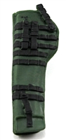 "Rifle Sheath Backpack: DARK GREEN & BLACK Version - 1:18 Scale Modular MTF Accessory for 3-3/4"" Action Figures"