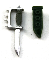 "Knuckle Knife with Sheath: Small Size DARK GREEN Version - 1:18 Scale Modular MTF Accessory for 3-3/4"" Action Figures"