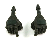 "Male Hands: DARK GREEN Gloves with GREEN Pad - Right AND Left (Pair) - 1:18 Scale MTF Accessory for 3-3/4"" Action Figures"