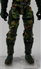 "Male Legs: CAMO DARK GREEN Cloth Legs (NO Armor) -  Right AND Left Pair-NO WAIST-LEGS ONLY  - 1:18 Scale MTF Accessory for 3-3/4"" Action Figures"