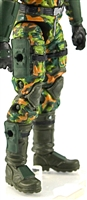 "Male Legs WITH Waist: CAMO DARK GREEN CLOTH Legs (NO Armor) - Right AND Left Legs WITH Waist - 1:18 Scale MTF Accessory for 3-3/4"" Action Figures"