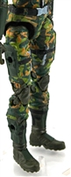 "Female Legs WITH Waist: DARK GREEN CAMO Legs  - Right AND Left Legs WITH Waist - 1:18 Scale MTF Valkyries Accessory for 3-3/4"" Action Figures"