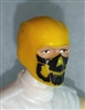 "Male Head: Balaclava YELLOW Mask with Black ""JAW"" Deco - 1:18 Scale MTF Accessory for 3-3/4"" Action Figures"