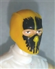 "Male Head: Balaclava YELLOW Mask with Black ""SPLIT SKULL"" Deco - 1:18 Scale MTF Accessory for 3-3/4"" Action Figures"
