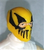 "Male Head: Balaclava YELLOW Mask with Black ""FANG"" Deco - 1:18 Scale MTF Accessory for 3-3/4"" Action Figures"