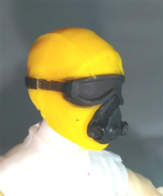 "Male Head: Mask with Goggles & Breather YELLOW Version - 1:18 Scale MTF Accessory for 3-3/4"" Action Figures"