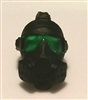 "Headgear: Gasmask BLACK with GREEN Tint Lenses  - 1:18 Scale Modular MTF Accessory for 3-3/4"" Action Figures"