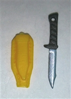 "Fighting Knife & Sheath: Large Size YELLOW Version - 1:18 Scale Modular MTF Accessory for 3-3/4"" Action Figures"