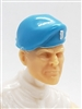 "Headgear: Beret LIGHT BLUE with WHITE Trim Version - 1:18 Scale Modular MTF Accessory for 3-3/4"" Action Figures"