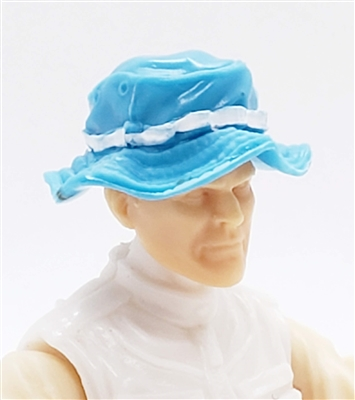"Headgear: Boonie Hat LIGHT BLUE with WHITE Version - 1:18 Scale Modular MTF Accessory for 3-3/4"" Action Figures"