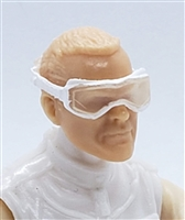 "Headgear: Standard Goggles with Strap ALL WHITE Version - 1:18 Scale Modular MTF Accessory for 3-3/4"" Action Figures"