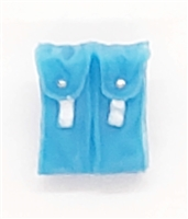 "Ammo Pouch: Double Magazine LIGHT BLUE with WHITE Version - 1:18 Scale Modular MTF Accessory for 3-3/4"" Action Figures"