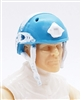 "Headgear: Half-Shell Helmet LIGHT BLUE with WHITE Version - 1:18 Scale Modular MTF Accessory for 3-3/4"" Action Figures"