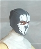 "Male Head: Balaclava GRAY Mask with White ""SPLIT SKULL"" Deco - 1:18 Scale MTF Accessory for 3-3/4"" Action Figures"