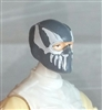 "Male Head: Balaclava GRAY Mask with White ""FANG"" Deco - 1:18 Scale MTF Accessory for 3-3/4"" Action Figures"