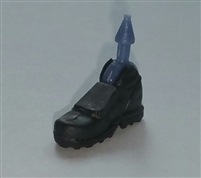 "Male Footwear: Right Black Boot with Gray Armor - 1:18 Scale MTF Accessory for 3-3/4"" Action Figures"