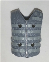 "Male Vest: Tactical Type GRAY with LIGHT GRAY Version - 1:18 Scale Modular MTF Accessory for 3-3/4"" Action Figures"