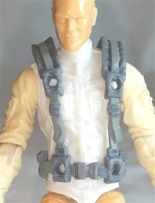 "Male Vest: Harness Rig GRAY Version - 1:18 Scale Modular MTF Accessory for 3-3/4"" Action Figures"