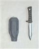 "Fighting Knife & Sheath: Large Size GRAY Version - 1:18 Scale Modular MTF Accessory for 3-3/4"" Action Figures"
