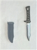 "Fighting Knife & Sheath: Small Size GRAY Version - 1:18 Scale Modular MTF Accessory for 3-3/4"" Action Figures"