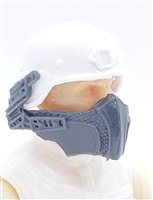 "Headgear: Armor Face Shield for Helmet GRAY Version - 1:18 Scale Modular MTF Accessory for 3-3/4"" Action Figures"
