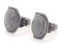 "Knee Pads with Strap GRAY & Black Version (PAIR) - 1:18 Scale Modular MTF Accessory for 3-3/4"" Action Figures"