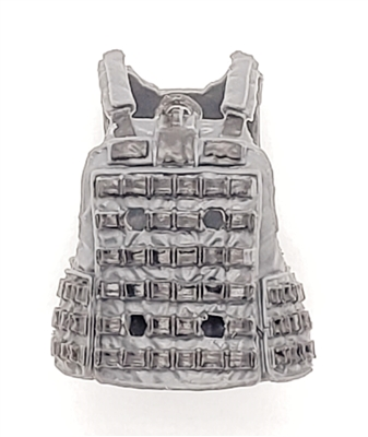 "Male Vest: Utility Type GRAY & Black Version - 1:18 Scale Modular MTF Accessory for 3-3/4"" Action Figures"