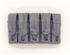 "Ammo Pouch: 5 Pocket Magazine Pouch GRAY & Black Version - 1:18 Scale Modular MTF Accessory for 3-3/4"" Action Figures"