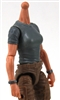 MTF Female Valkyries T-Shirt Torso ONLY (NO WAIST/LEGS): GRAY Version with LIGHT Skin Tone - 1:18 Scale Marauder Task Force Accessory