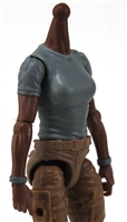 MTF Female Valkyries T-Shirt Torso ONLY (NO WAIST/LEGS): GRAY Version with DARK Skin Tone - 1:18 Scale Marauder Task Force Accessory