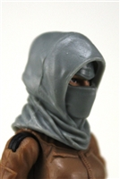 "Headgear: Hood GRAY Version - 1:18 Scale Modular MTF Accessory for 3-3/4"" Action Figures"