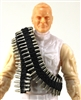 "Ammo Belt Bandolier: LIGHT BRASS CARTRIDGE Version - 1:18 Scale Modular MTF Accessory for 3-3/4"" Action Figures"