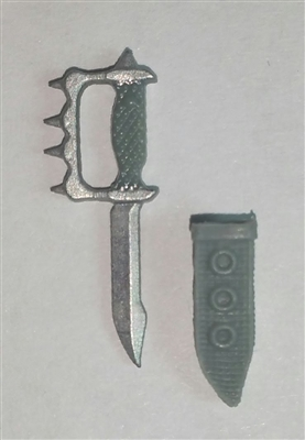 "Knuckle Knife with Sheath: Small Size GRAY Version - 1:18 Scale Modular MTF Accessory for 3-3/4"" Action Figures"