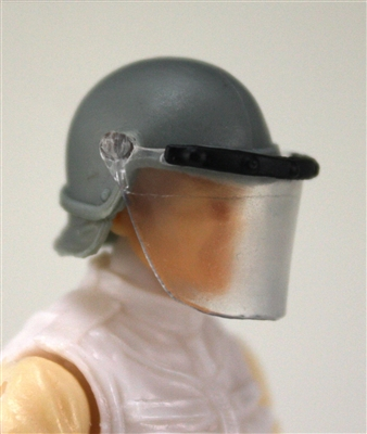"Headgear: Swat RIOT Helmet with Visor ""Face Shield"" GRAY Version - 1:18 Scale Modular MTF Accessory for 3-3/4"" Action Figures"