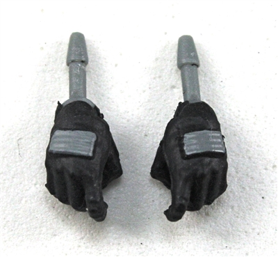 "Female Hands: Black Gloves with Gray Pads - Right AND Left (Pair) - 1:18 Scale MTF Valkyries Accessory for 3-3/4"" Action Figures"