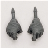 "Male Hands: Gray Full Gloves Right AND Left (Pair) - 1:18 Scale MTF Accessory for 3-3/4"" Action Figures"