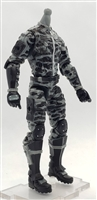 "MTF Male Trooper Body WITHOUT Head GRAY with BLACK CAMO ""Shadow-Ops"" Version BASIC - 1:18 Scale Marauder Task Force Action Figure"