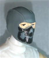 "Male Head: Balaclava GRAY Mask with Black ""JAW"" Deco - 1:18 Scale MTF Accessory for 3-3/4"" Action Figures"