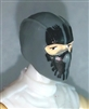 "Male Head: Balaclava GRAY Mask with Black ""SPLIT SKULL"" Deco - 1:18 Scale MTF Accessory for 3-3/4"" Action Figures"